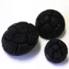 Black Woven Braid Effect Button